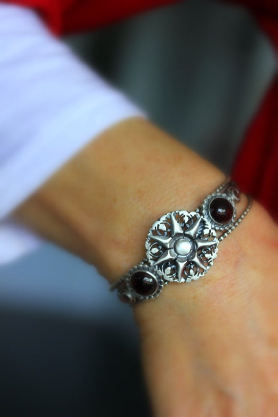 Garnet  and Sterling Cuff  Bracelet, Multi Cuff Recycled Sterling Silver Bracelet, Ornate Chunky Cuff