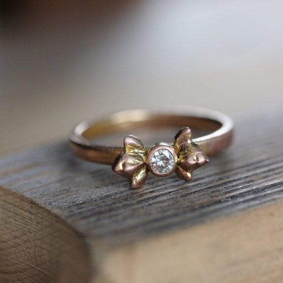 Moissanite and 14k Rose Gold Ring,  Flower Bud Ring, Gold Ring, Flower Engagement Ring, Made To Order