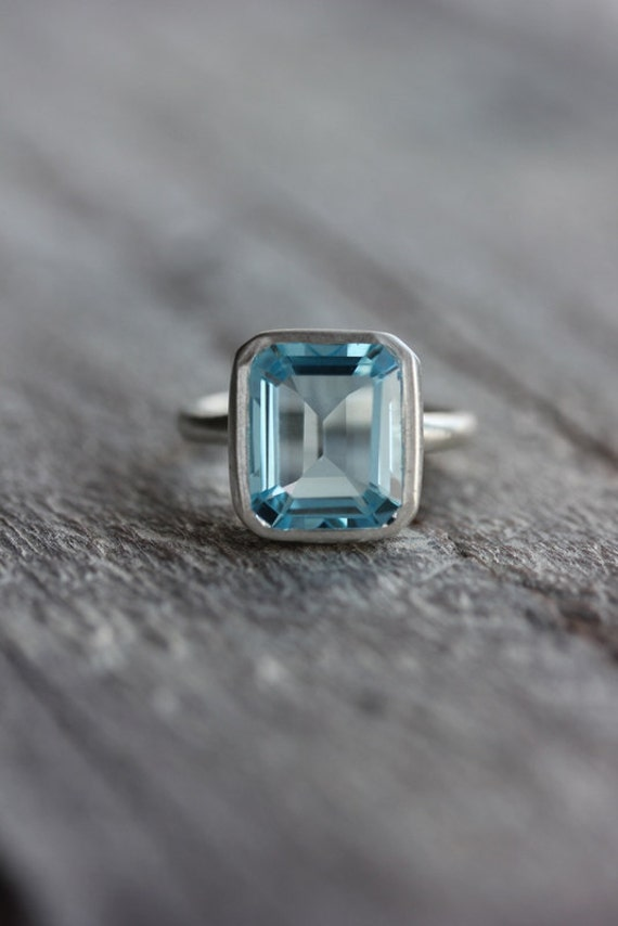Sky Blue Topaz Emerald Cut Ring in Argentium Sterling Silver, Made To Order