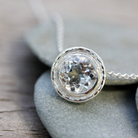 White Topaz HALO Slide Necklace in Sterling Silver, Vintage Inspired Slide Pendant