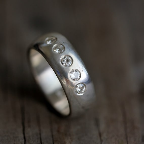 Moissanite Ring, Wedding Band, Silver Ring, Five Stone Ring, Wide Band, Moissanite Band, Anniversary Band, Unisex, Handmade