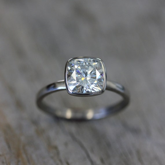 Moissanite Ring, 14k White Gold Ring, Cushion Moissanite, Engagement Ring, Diamond Alternative Ring, Eco Friendly // Conflict Free