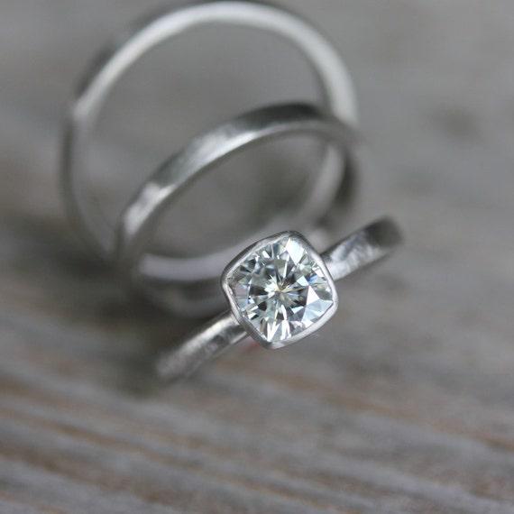 Forever Brilliant Moissanite Engagement Ring, White Gold Engagement Ring, Cushion Shape, Non Diamond Ring