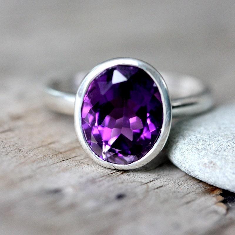 Grape Amethyst Ring Oval Amethyst Gemstone Ring In Recycled