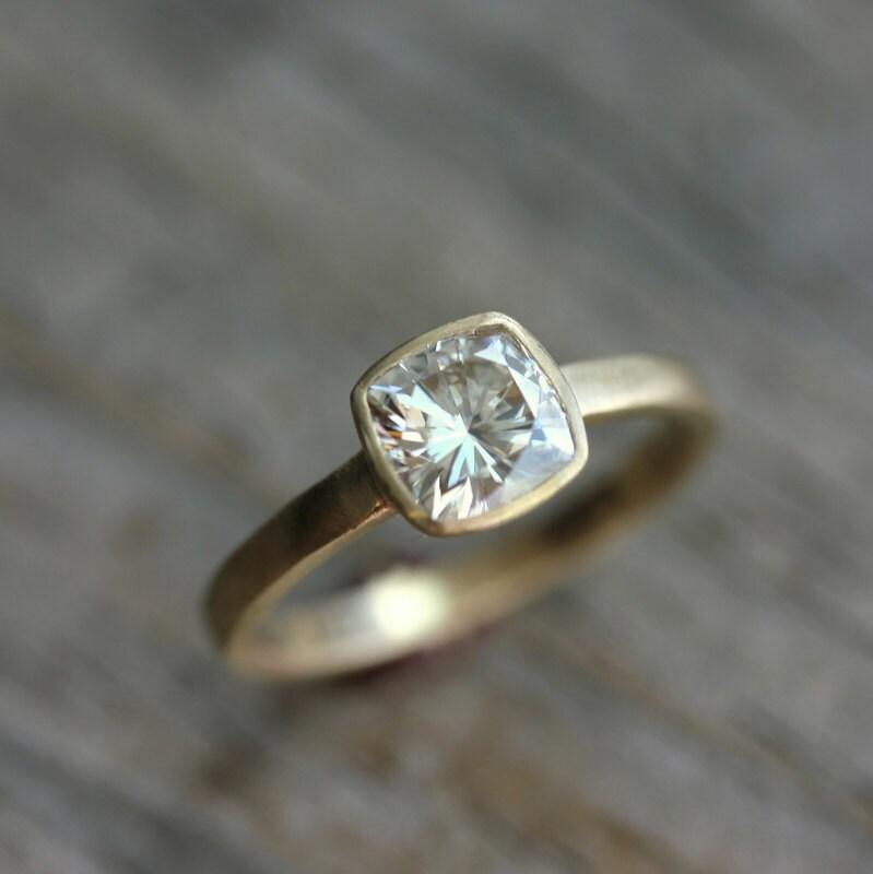 Yellow Gold Engagement Ring Forever Brilliant Moissanite