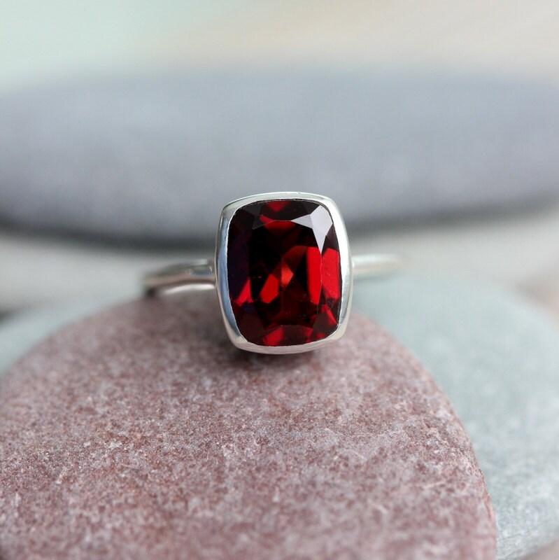 Garnet Bands: Cushion Garnet Ring Red Garnet January Birthstone Ring For