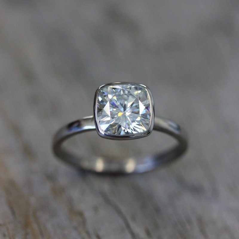 Moissanite Ring 14k White Gold Ring Cushion Moissanite