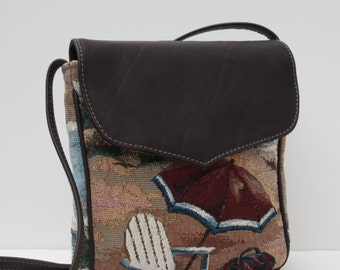 SMALL MESSENGER BAG  Fabric with Leather Beach by bizmo