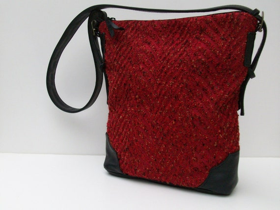 SHOULDER BAG  Fabric and Leather Satchel  Crimson Tweed by bizmo