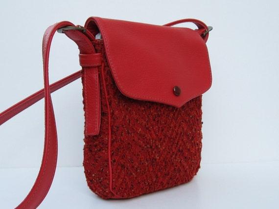 Handmade Fabric and Leather Purse SMALL MAILBAG Red Orange Herringbone by bizmo