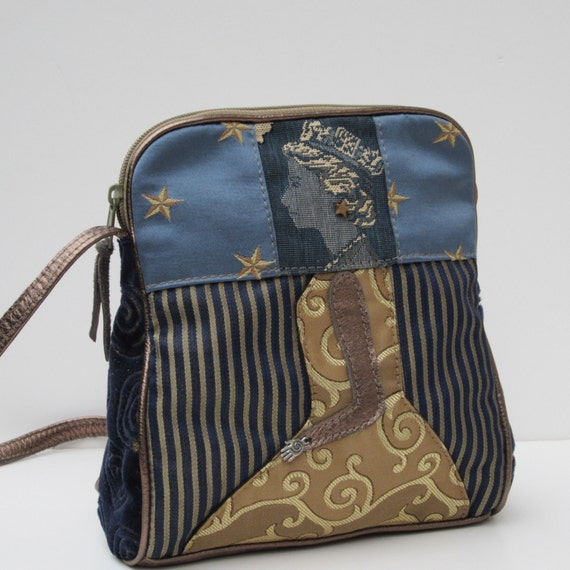 Fabric and Leather SHOULDER BAG   Functional Folk Art Queen E by bizmo
