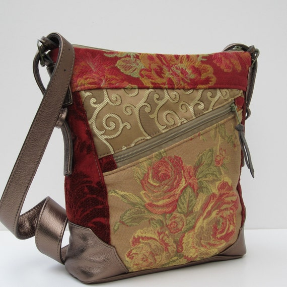 FABRIC and LEATHER BAG Handmade Eclectic Medley Antique Rose Satchel By bizmo