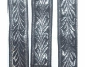 Metallic Silver Lame Embroidered VINTAGE BLACK Woven Jacquard RIBBON Trim - 3 Yards