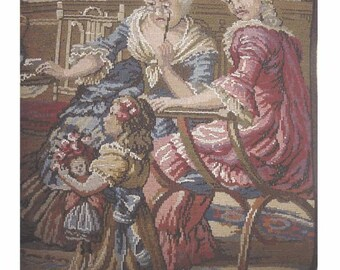 SALE - Vintage Belgian TAPESTRY - Victorian Ladies and Little Girl With Her DOLL in Big Roses Hat - Parlour Scene - Very Large