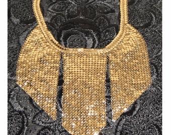 ON SALE - Art DECO Gold Mesh Vintage 1930's Choker - Collar - Egyptian Revival