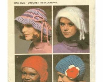 SALE Cloche Hat Patterns - Vintage 1970's Simplicity Crochet Pattern