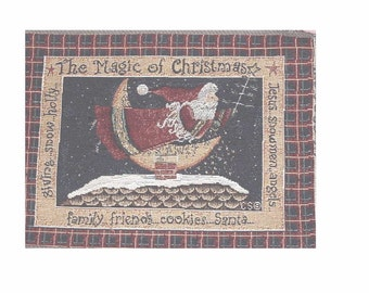 The Magic of Christmas - SANTA  on the ROOF  - Woven Designer Tapestry - Metallic  Accents