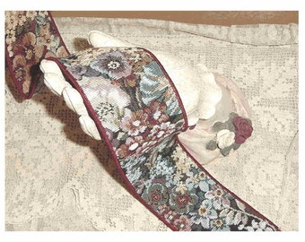 """English Garden Tapestry Ribbon Trim - ONE PRICE For ALL - 2-1/2"""" W x 90"""" Long - VeRY LaST Of It - Price Is For All!  Wired"""