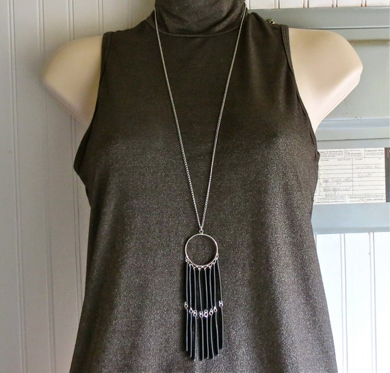 Tribal necklace black upcycled wires eco friendly jewelry