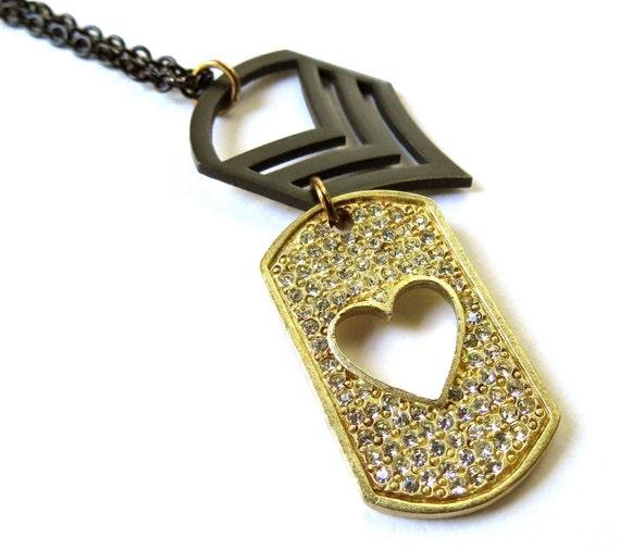 Army Staff Sergeant necklace black chevron dog tag patriotic military soldier rank insignia jewelry