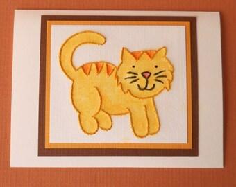 Sweet Kitty Card in Yellow/Orange - Five- Pack