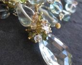 Green amethyst statement necklace in 14k gold fill with tourmaline, white topaz - london blue, mint green - gemstone jewelry - mermaid bride