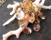Coral necklace Oregon sunstone spinel imperial topaz  14k gold fill natural curiosity elegant mermaid golden gemstone jewelry --Atoll--