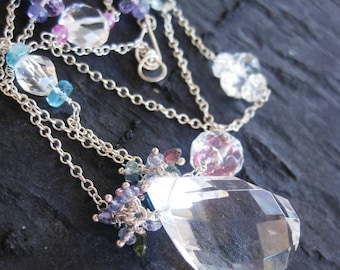 Crystal quartz and pink tourmaline necklace in sterling silver with pink topaz, apatite, aquamarine - purple, periwinkle, turquoise