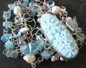 Blue topaz  bracelet - pearl bracelet - sterling silver - multi strand - vintage look glass clasp - mermaid bride - gemstone jewelry