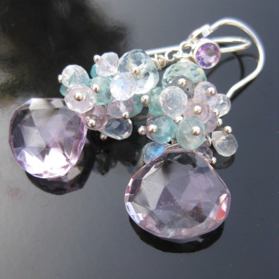 Siracusa amethyst and moonstone earrings