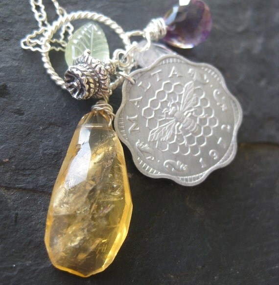 Citrine necklace, amethyst, coin charm necklace --Queen Bee--