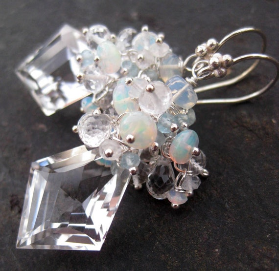 White topaz, crystal quartz, opal earrings in silver --Carsethorn--