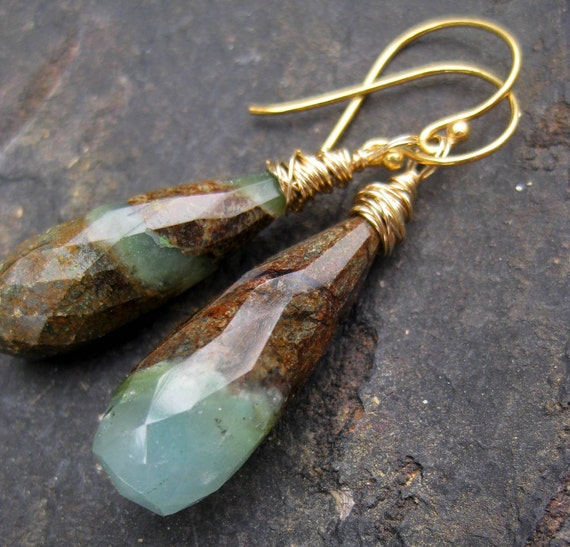 Minty chrysophrase earrings in 14k gold fill green brown natural curiosity rocks minerals long dangle gemstone jewelry --Grasshopper--