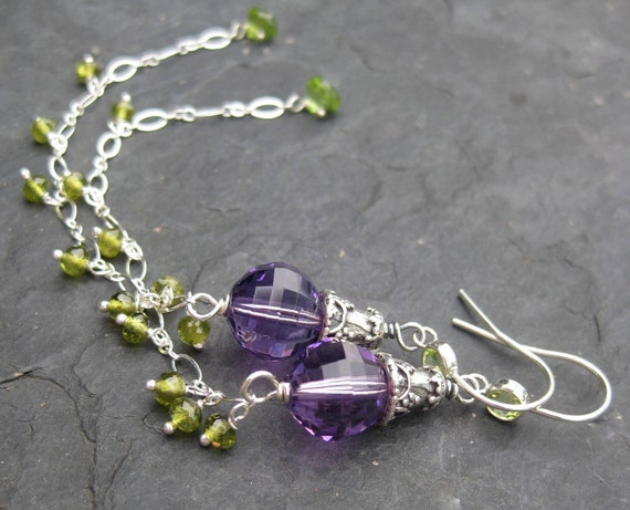 Shoulder duster earrings in sterling silver with amethyst and peridot - collarbone duster - long beaded dangle - gemstone jewelry
