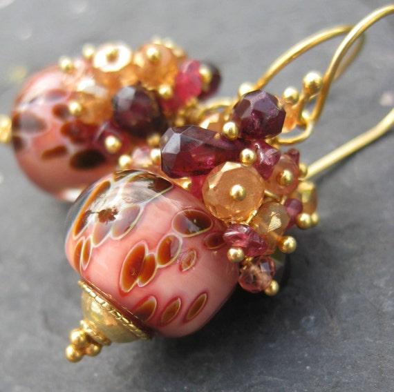 Boro lampwork bead earrings sapphire garnet gemstone beaded glass gold vermeil dangle jewelry --Creme Brulee--