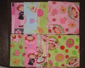 32 - 4.5 inch quilt fabric squares - Strawberry Shortcake