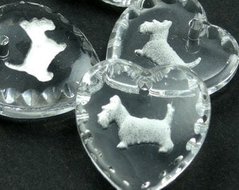 1 Glass Scotty Dog Charm - 15x14 - Crystal and White CP009