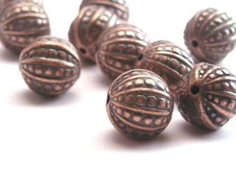 Vintage Metalized Ornate Beads 12mm Antiqued Copper (10) VPB065