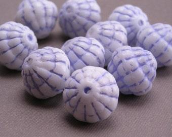 Vintage Austrian Glass Beads Bumpy White and Blue 12mm - VGB34