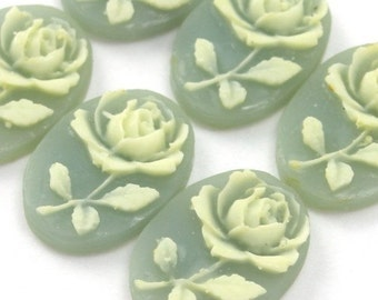Plastic Rose Flower Cameos 14x10mm Blue and Ivory (4) IC038