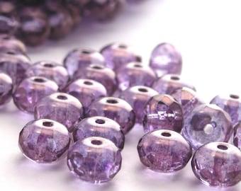25 Czech Glass Gemstone Donut 7x5mm Luster - Transparent Amethyst CZF037