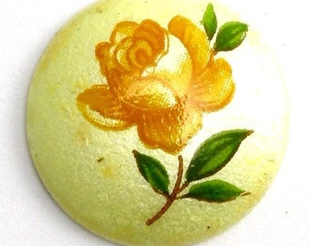 Vintage Porcelain Floral Cabochons Japanese 18mm Pearl Yellow (4) VGC123