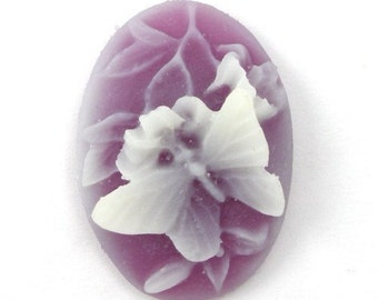 3 Plastic Butterfly and Flower Cameos - 25x18 - Amethyst Purple and White IC041