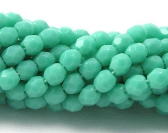 50 Czech Glass Firepolish Faceted Rounds - 3mm - Opaque Turquoise CZF125