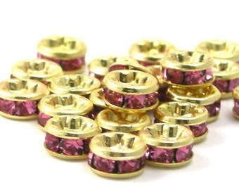 6 Czech Crystal Rhinestone Rondells 4.5mm - Gold Rosaline CZM018