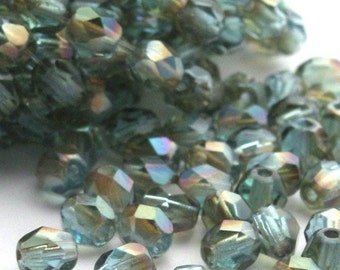 Czech Glass Beads Fire Polished 4mm Aquamarine Celsian (50) CZF108