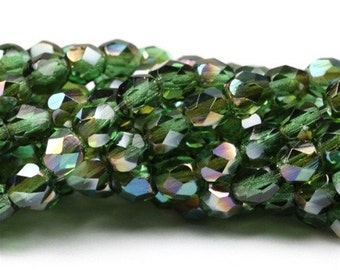 Czech Glass Beads Fire Polished Faceted Rounds 4mm Prairie Green Celsian (50) CZF188