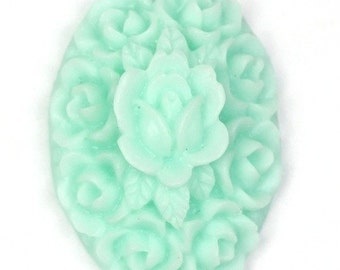Flower Cluster Cabochon Plastic 21x15mm Oval Aqua (6) PC141 50% OFF CLEARANCE SALE