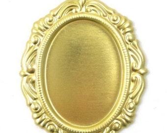 Ornate Raw Brass Stampings 25x18mm Oval Setting 1 Loop (4) FI129