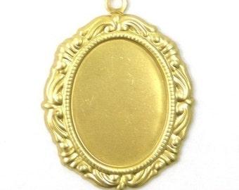 6 Ornate Raw Brass Stampings 18x13mm Oval Setting 1 Loop FI130